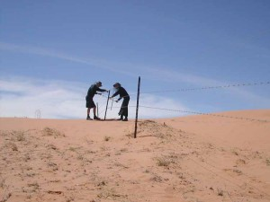 1.	Jon Rose and Hollis Taylor bowing a fence in the Strzelecki Desert, south-west Queensland, 2004. Image courtesy Hollis Taylor and Jon Rose. Photograph by Jon Rose.